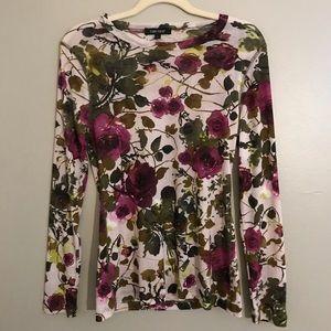Karen Kane Sheer Long Sleeve Floral Blouse